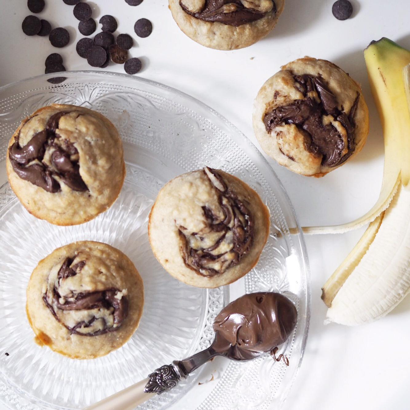 Vegane Bananenbrot Muffins mit Schokoswirl